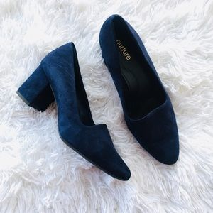 Nurture Blue Suede Heels